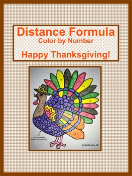 Thanksgiving Distance Formula Color by Number