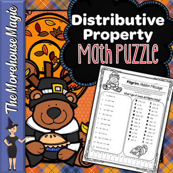 Thanksgiving Distributive Property Math Puzzle - Pilgrims!