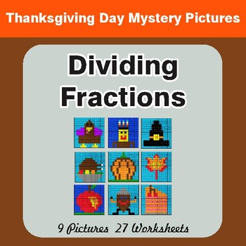 Thanksgiving: Dividing Fractions - Color-By-Number Math Mystery Pictures