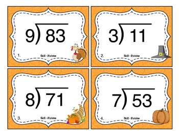 Thanksgiving Division (2 Digit ÷ 1 Digit Numbers) Task Cards