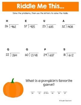 Thanksgiving Long Division Math Riddles