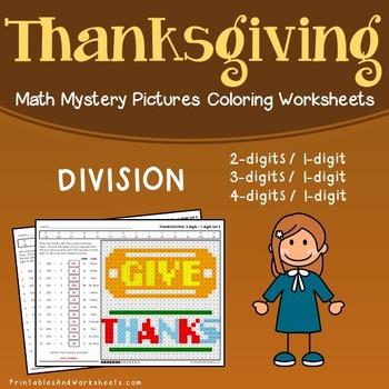 Thanksgiving Division Worksheets, November Math Coloring Activity