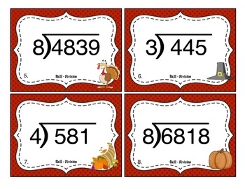 Thanksgiving Division (Multi Digit ÷ 1 Digit Numbers) Task Cards