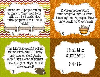 Thanksgiving Division Task Cards - 3rd Grade