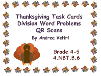 Thanksgiving Division Word Problems Task Cards