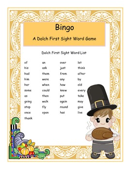 Thanksgiving Dolch First Grade Sight Words Bingo