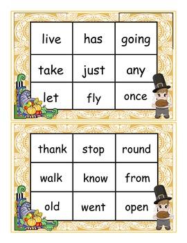 Thanksgiving Dolch First Grade Sight Words Bingo