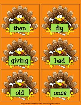 Thanksgiving Dolch First Grade Word Cards