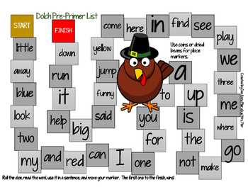 Thanksgiving Board Games For Dolch Sight Words