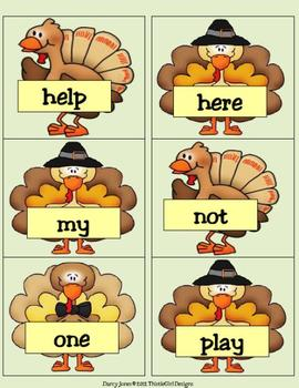 Thanksgiving Dolch PrePrimer Word Cards