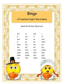 Thanksgiving Dolch Preschool Sight Words Bingo Game