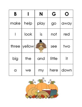 Thanksgiving Dolch Sight Word Bingo Game