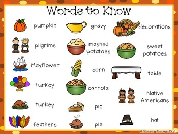 Sight Word Sentence Strips: Thanksgiving Set