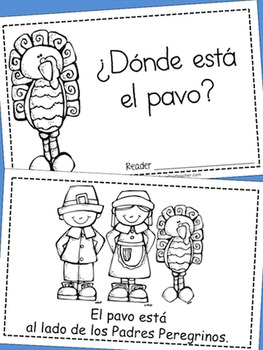 Thanksgiving Activities - ¿Dónde está el pavo? Positional Words Reader - Spanish