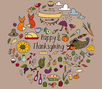 Thanksgiving Doodle Clipart, Hand drawn fall and autumn vector clip art graphics