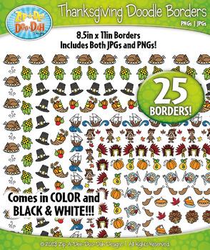 Thanksgiving Doodle Frame Borders {Zip-A-Dee-Doo-Dah Designs}