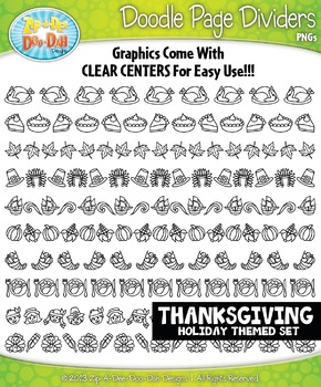 Thanksgiving Doodle Page Divider Clipart Set — Includes 10