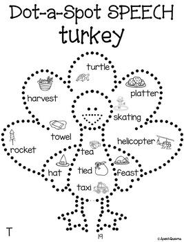 Thanksgiving Dot a Spot Speech Therapy Craft pinning tracing dotting craftivity