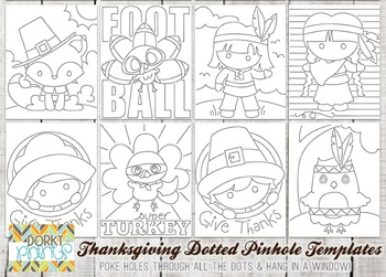 Thanksgiving Dotted Pin Hole Art Templates