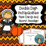 Thanksgiving Double Digit Multiplication Task Cards with Secret Message