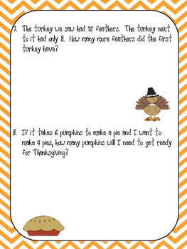 Thanksgiving Double Digit Word Problems