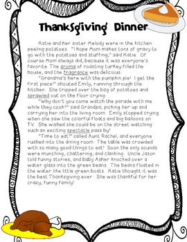 Thanksgiving-- Drawing Conclusions with Reading Comprehension