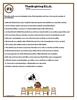 Thanksgiving ELA Worksheets