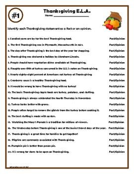 Thanksgiving ELA Worksheets by Kelli Lovingfoss | TpT