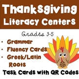 Thanksgiving ELA Literacy Centers with QR Codes -Task Cards