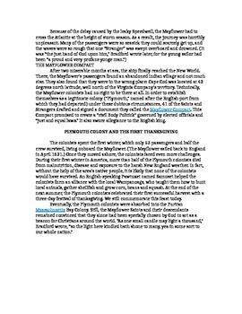 Thanksgiving ELA Mayflower Passenger Presentation Lesson