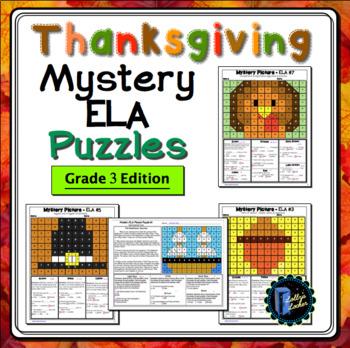 Thanksgiving ELA Mystery Puzzles Grade 3 Edition