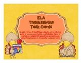 Thanksgiving ELA Review Task Cards