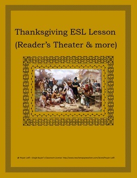 Thanksgiving ESL Lesson (Reader's Theater & more) - Intermediate/Advanced Levels