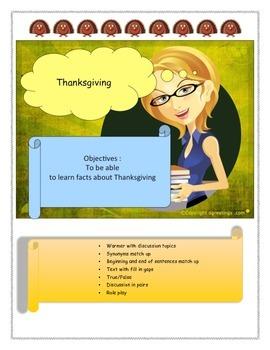 Thanksgiving ESL worksheet vocabulary and speaking lesson
