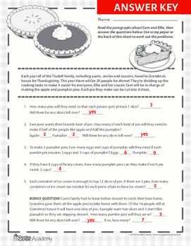 Thanksgiving Easy As Pie Fraction Word Problems