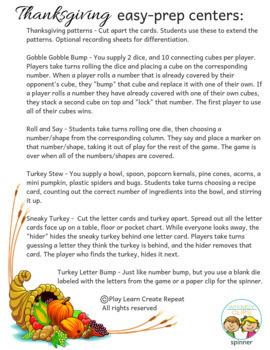 Thanksgiving Easy-Prep Centers