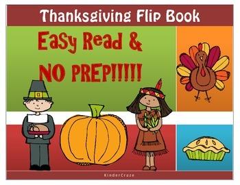 Thanksgiving Easy Read Flip Book- No Prep