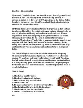 Thanksgiving - Easy Reading for ESL/EFL students