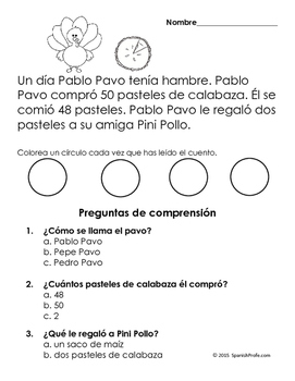 Easy Reading Comprehension Passages- Spanish (Dia de accion de gracias)
