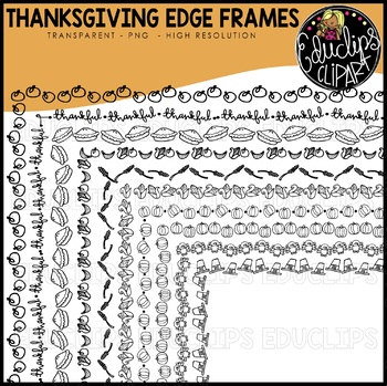Thanksgiving Edge Frames Clip Art Set {Educlips Clipart}
