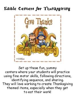 Thanksgiving Edible Center Activities