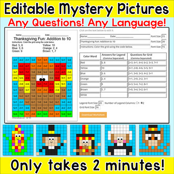 Thanksgiving Editable Mystery Pictures for any Language and any Questions!