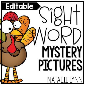 Thanksgiving Editable Sight Word Worksheets