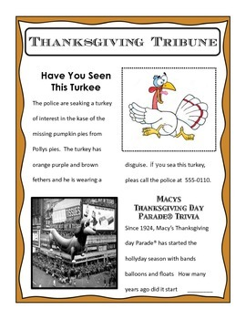 Thanksgiving Editing Activity