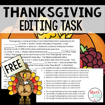 Thanksgiving Editing Task - FREE