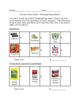 Thanksgiving Edition Grocery Store Math