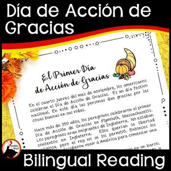 Spanish Thanksgiving (El Día de Acción de Gracias) Bilingual Reading