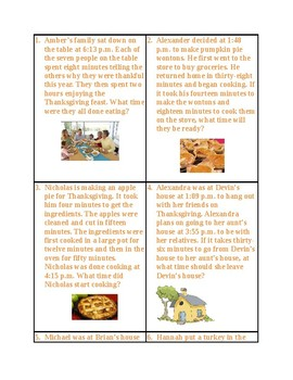 Thanksgiving Elapsed Time Word Problems