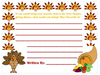 Thanksgiving Elementary Writing Prompt!