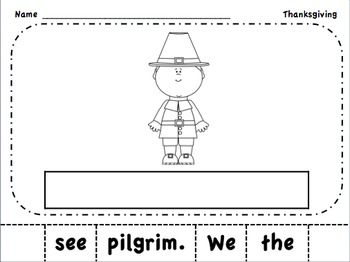 Thanksgiving Emergent Reader Book & Build a Sentence Packet PreA and Level A